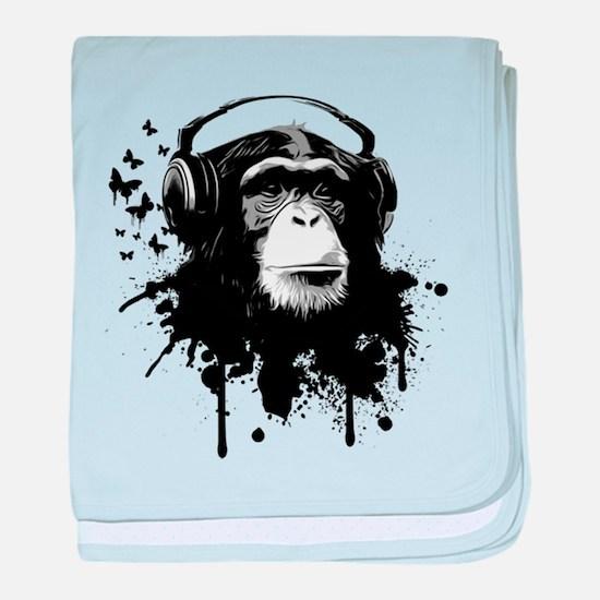 Headphone Monkey baby blanket