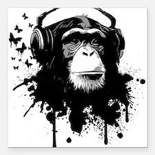 "Headphone Monkey Square Car Magnet 3"" x 3"""