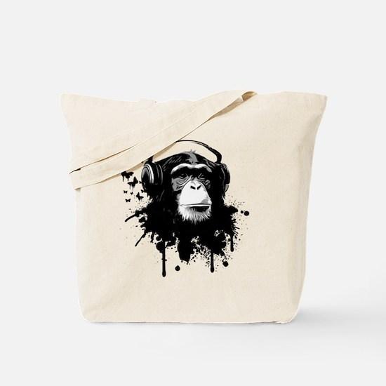 Headphone Monkey Tote Bag