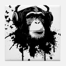 Headphone Monkey Tile Coaster