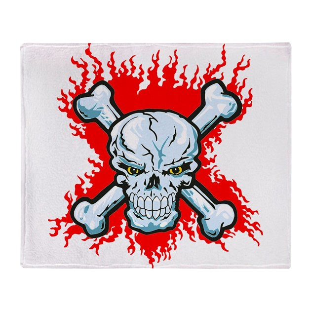 Skull Bones And Flames Throw Blanket By Boutiquedechemises