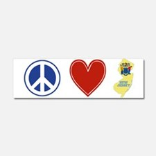 Peace Love New Jersey Car Magnet 10 x 3
