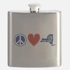 Peace Love New York Flask
