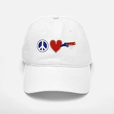 Peace Love North Carolina Baseball Baseball Cap
