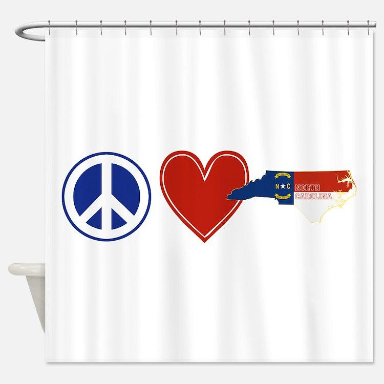 Peace Love North Carolina Shower Curtain