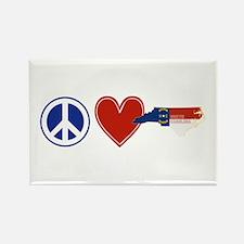 Peace Love North Carolina Rectangle Magnet