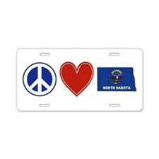 Peace Love North Dakota Aluminum License Plate