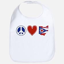 Peace Love Ohio Bib