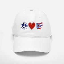 Peace Love Ohio Baseball Baseball Cap