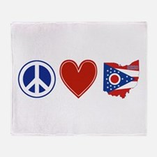 Peace Love Ohio Throw Blanket