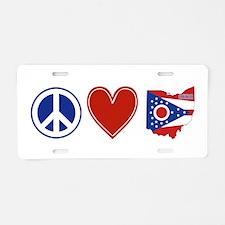 Peace Love Ohio Aluminum License Plate