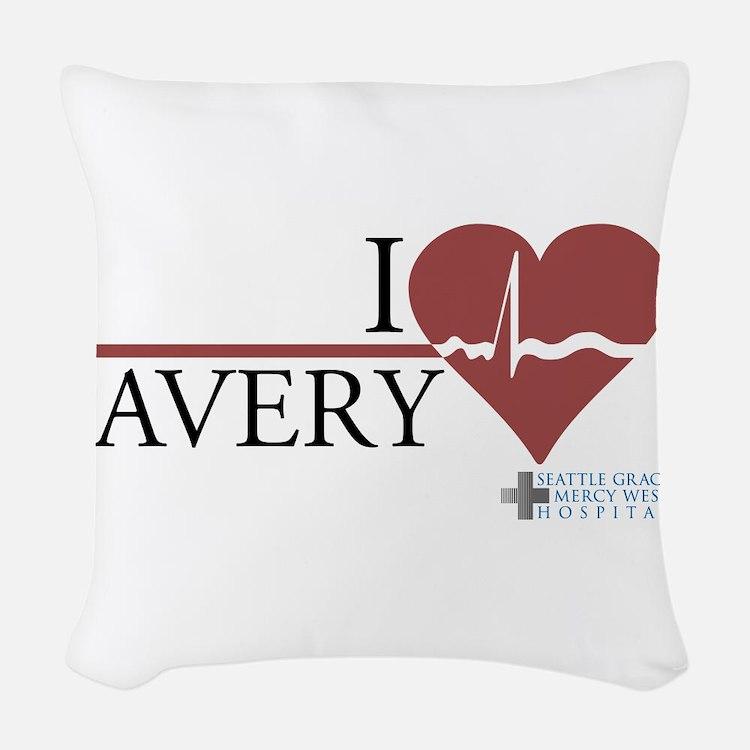 I Heart Avery - Grey's Anatom Woven Throw Pillow