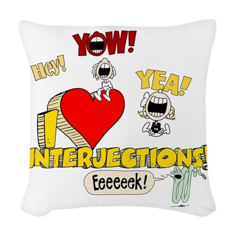 I Heart Interjections Woven Throw Pillow