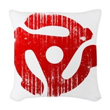 Distressed Red 45 RPM Adap Woven Throw Pillow