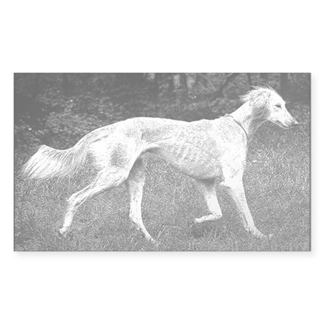 Saluki Wooded Stroll - Pen and Ink Sticker