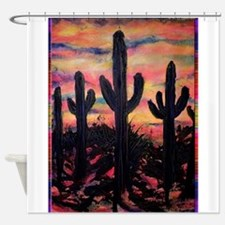Desert, southwest art! Saguaro cactus! Shower Curt