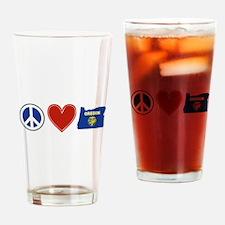 Peace Love Oregon Drinking Glass