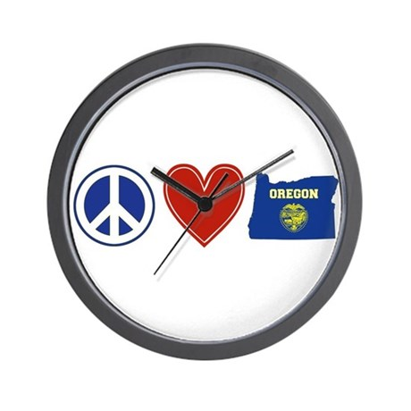 Peace Love Oregon Wall Clock