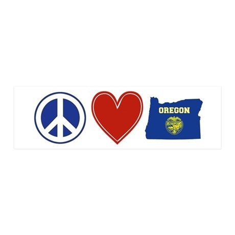 Peace Love Oregon 36x11 Wall Decal