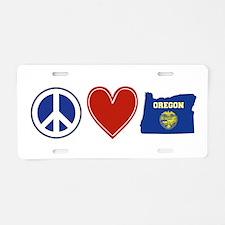Peace Love Oregon Aluminum License Plate
