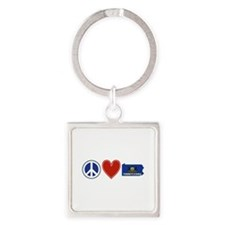 Peace Love Pennsylvania Square Keychain