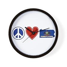Peace Love Pennsylvania Wall Clock