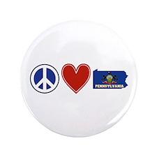 """Peace Love Pennsylvania 3.5"""" Button"""