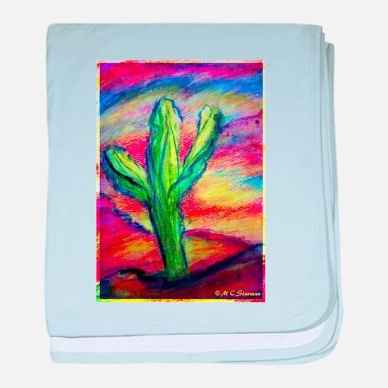 Saguaro Cactus, Southwest art! baby blanket
