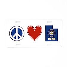 Peace Love Utah Aluminum License Plate