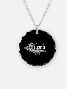 7 Sins Sloth Necklace Circle Charm