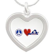 Peace Love Virginia Silver Heart Necklace