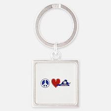 Peace Love Virginia Square Keychain