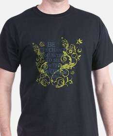 Gandhi Vine - Be the change - Blue & Green T-Shirt