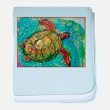 Sea turtle! Wildlife art! baby blanket