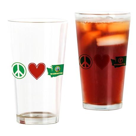 Peace Love Washington Drinking Glass