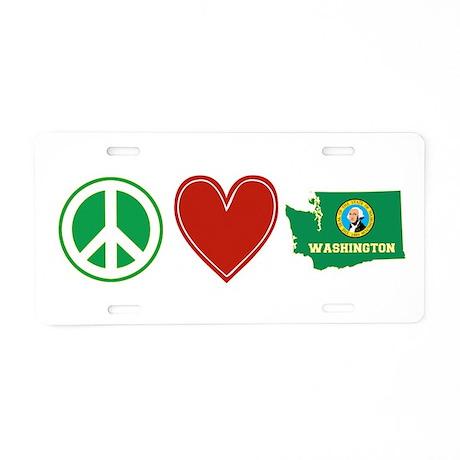 Peace Love Washington Aluminum License Plate