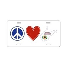 Peace Love West Virginia Aluminum License Plate
