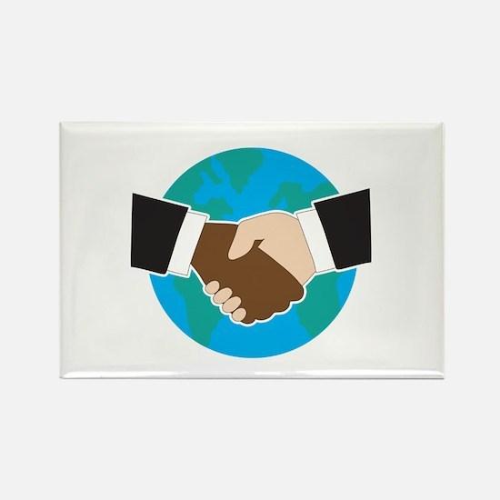 World Hand Shake Rectangle Magnet (10 pack)