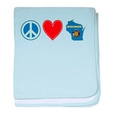 Peace Love Wisconsin baby blanket