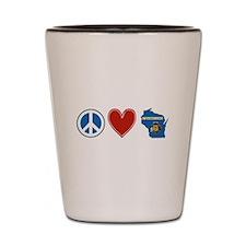 Peace Love Wisconsin Shot Glass