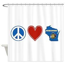 Peace Love Wisconsin Shower Curtain