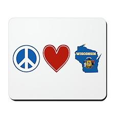 Peace Love Wisconsin Mousepad