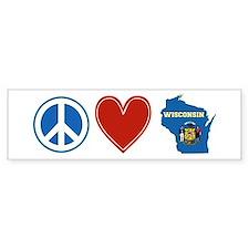 Peace Love Wisconsin Bumper Sticker