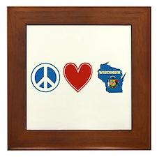 Peace Love Wisconsin Framed Tile