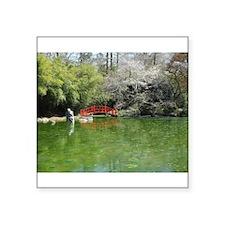 "Bridge Over Spring Pond Square Sticker 3"" x 3"""