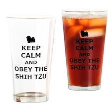 Obey The Shih Tzu Drinking Glass