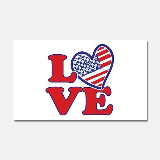 I Love the USA Car Magnet 20 x 12