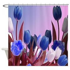 Beautiful Blue Tulips Shower Curtain