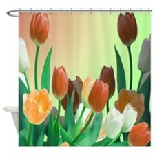 Peach and White Tulips Shower Curtain