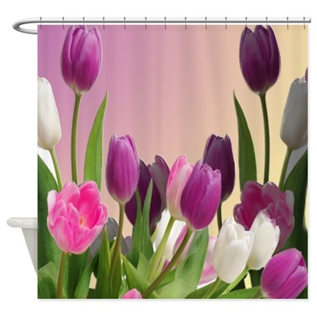 Large Purple And White Tulips Shower Curtain By Zazzlingshowercurtains